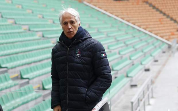 President of the Italian National Olympic Committee, CONI, Giovanni Malago' poses during a winter Olympics Milano Cortina bid IOC Evaluation Commission meeting at the San Siro stadium, in Milan, Italy on Thursday.