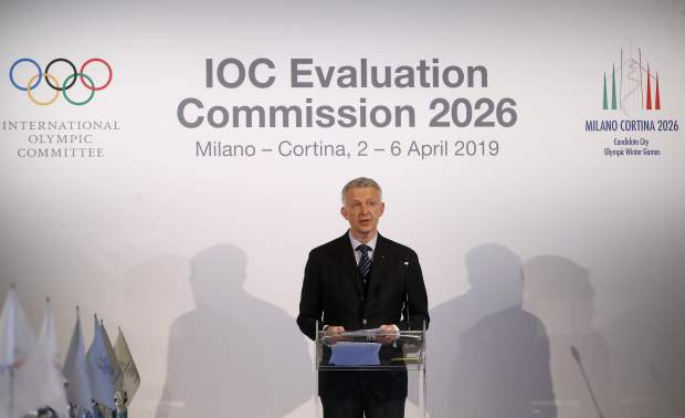 Winter Olympics Milano Cortina bid IOC Evaluation Commission manager Octavian Morariu talks during a winter Olympics Milan Cortina bid IOC Evaluation Commission meeting, in Milan, Italy on Friday.