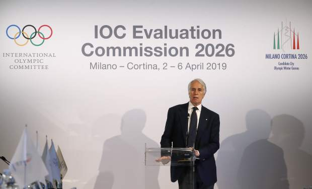 President of the Italian National Olympic Committee, CONI, Giovanni Malago' talks during a Winter Olympics Milan Cortina bid IOC Evaluation Commission meeting, in Milan, Italy on Friday.