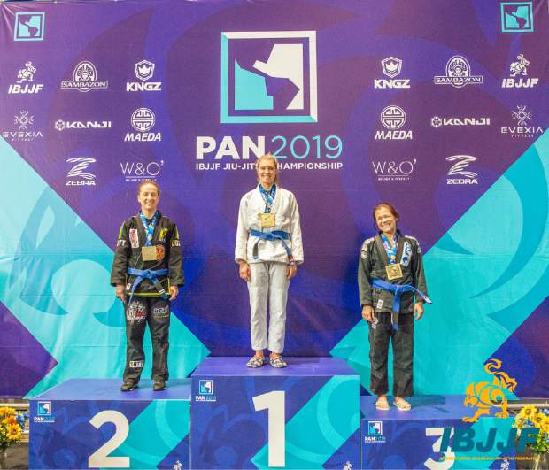 Last month, Asti Alexandria (center) took first-place in the women's blue belt, middleweight competition at the 2019 Pan American Jiu-Jitsu Championships in Irvine, California