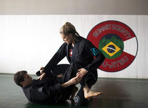 Lawrence Beek, left, and Asti Alexandria grapple on Wednesday, April 10, at Summit County Jiu Jitsu in Frisco.