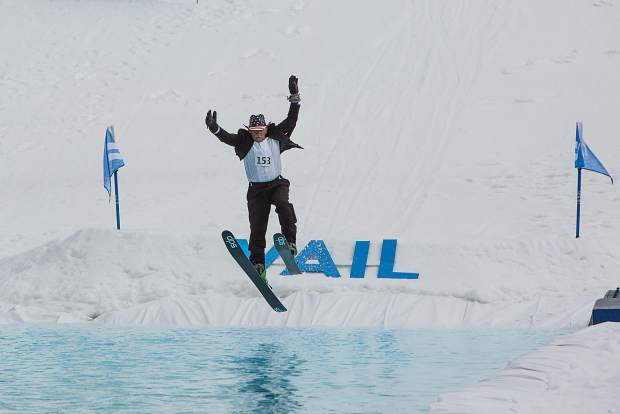 The Best Performance by a Skier award was given to 80-year-old Edmund Doogan, who hit the water cleanly after a nice air into the pond and skimmed most of the way through, much to the delight of the many fans in attendance at Vail's World Pond Skimming Championships on Sunday.