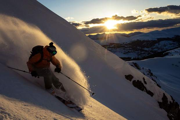Frisco resident Gary Fondl finds powder in the Tenmile Range during sunset on Wednesday evening, April 24, near Frisco.