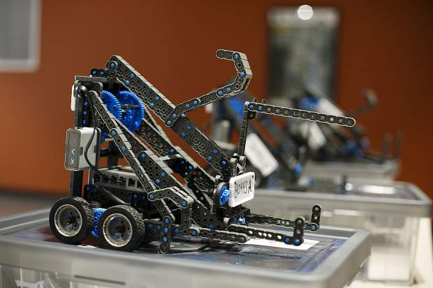 Remote controlled robots used by the Summit Middle School students Wednesday, April 3, inside the school in Frisco.