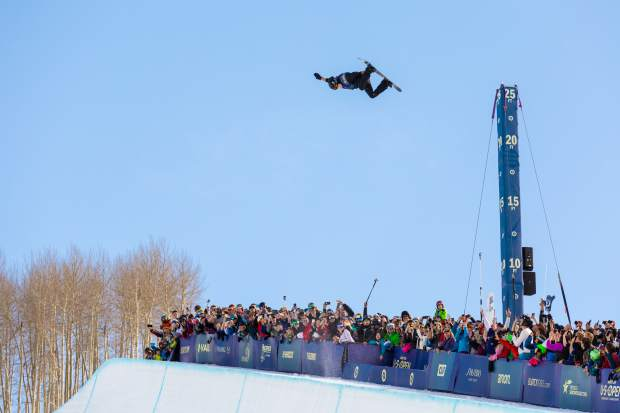 Shaun White boosts out of the halfpipe during the 2016 Burton U.S. Open Snowboarding Championships in Vail.
