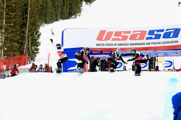 Snowboarders depart the boardercross gates earlier this week at the USASA Nationals at Copper Mountain Resort. This week's snowboard national championship competitions wrapped up Thursday, while  freeski competitions will take place next week.