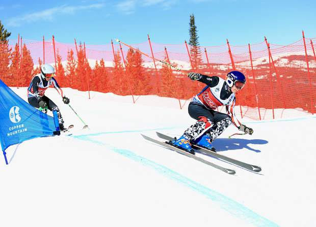 Skiers carve turns through the skiercross course during competition at this week's USASA National Championships at Copper Mountain Resort.