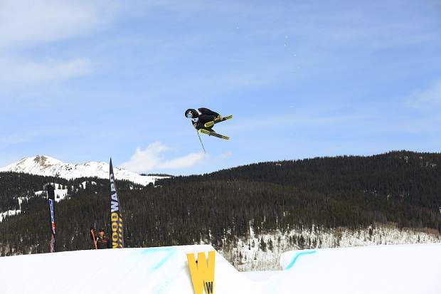 A freeskier eyes a landing on the Woodward slopestyle course during competition this week at the USASA National Championships at Copper Mountain Resort.