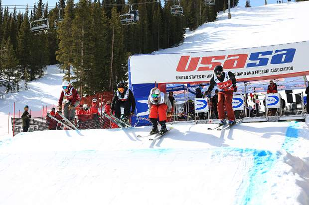 Freeskiers depart the skiercross starting gate during competition this week at the USASA National Championships at Copper Mountain Resort.