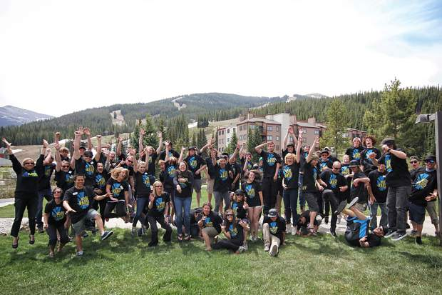 Woodward Copper's summer staff pose for a group photo at Copper Mountain Resort in 2013.
