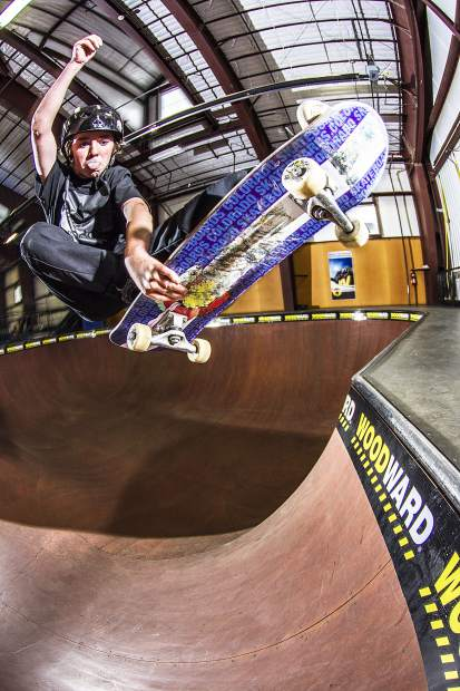 Eagle County up-and-coming pro snowboarder Jack Coyne skates at the Woodward Copper barn at Copper Mountain Resort.
