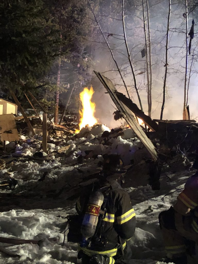 Firefighters with the Red, White & Blue Fire Protection District working on a home that exploded in Breckenridge last night.
