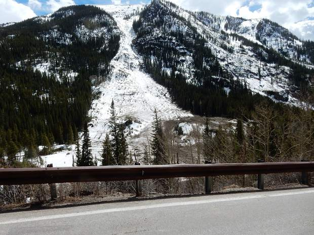 This is one of a handful of slides on the approach to Independence Pass that didn't cover Highway 82 with debris.