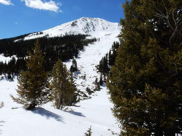 An avalanche off Independence Mountain widened its traditional slide path.
