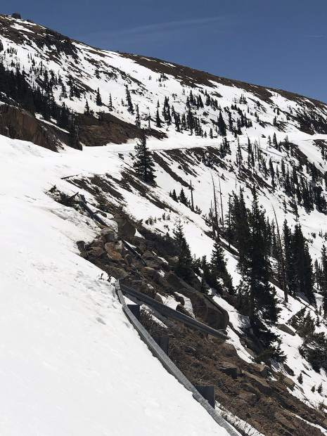 An avalanche tore out a section of guard rail along the Final Cut near the summit of Independence Pass. Karin Teague paced it and estimated the missing section at about 100 feet.