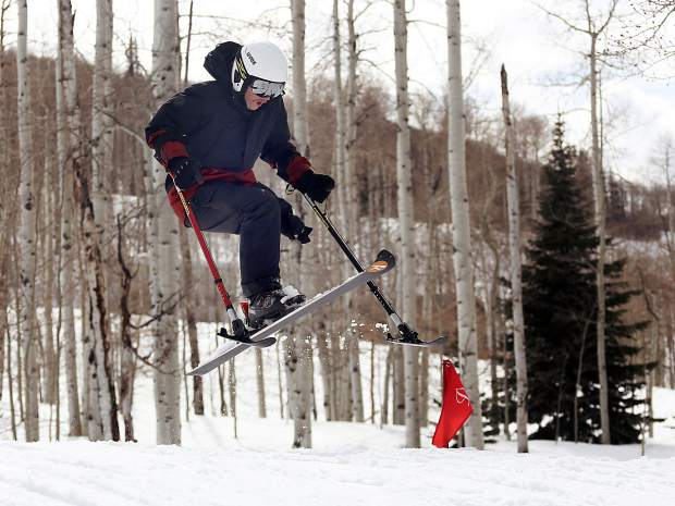 Texas native and Winter Park resident George Kellogg, a former Marine who is a one-legged skier, hits a jump while taking part in the National Disabled Veterans Winter Sports Clinic in Snowmass on Wednesday.