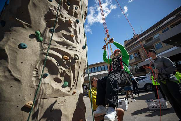 Linda Strong rock climbs at the National Disabled Veterans Clinic in Snowmass on April 1.
