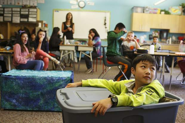 Silverthorne Elementary student Jesse Wiono takes part of his flexible seating choice in