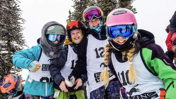 Team Summit and Team Breckenridge U-12 big mountain freeskiers pose for a photo at last month's IFSA North American Junior Freeridge Championships at Kicking Horse Mountain Resort in Golden, British Columbia.