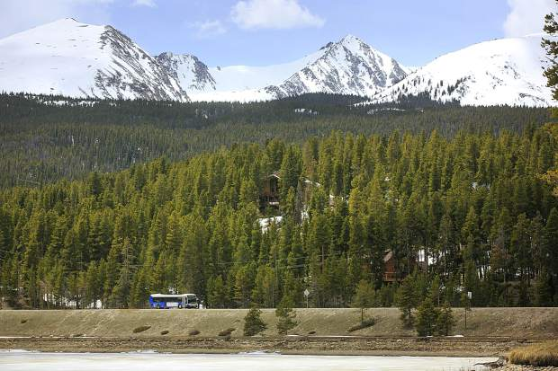 A Summit Stage bus passes through Blue River and the Tenmile Range on Highway 9 Monday, May 6.