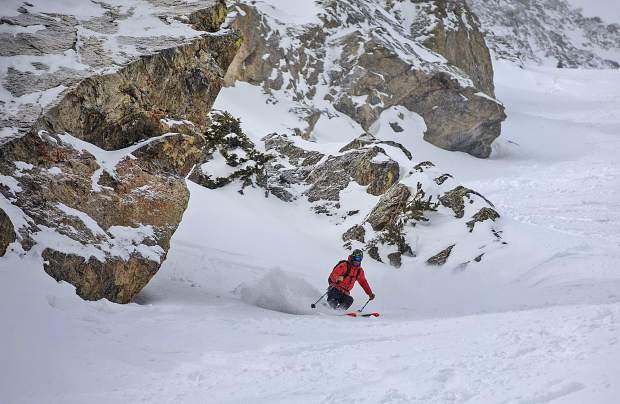 Thomas Bull descends in the Silver Couloir on skis on April 13, on Buffalo Mountain near Silverthorne.