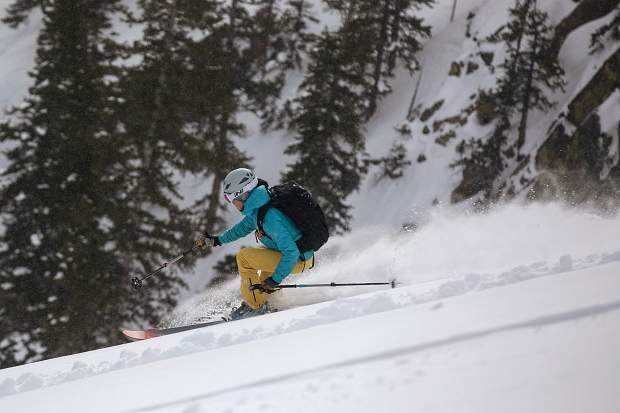 Skier Manasseh Franklin finds low angle exit of the Silver Couloir on April 13, on Buffalo Mountain near Silverthorne.