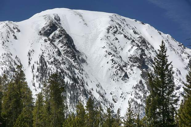 Buffalo Mountain's north-facing popular backcountry ski route, the Silver Couloir, at center, seen on May 3, near Silverthorne.