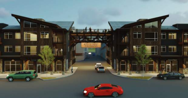 This rendering shows concepts for Fourth Street Crossing, a massive project covering an entire city block with a new hotel, market hall, parking garage, commercial and housing assets and more in downtown Silverthorne.