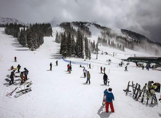 Skiers and snowboarders take advantage of fresh snow on Tuesday, May 21, at Arapahoe Basin Ski Area.