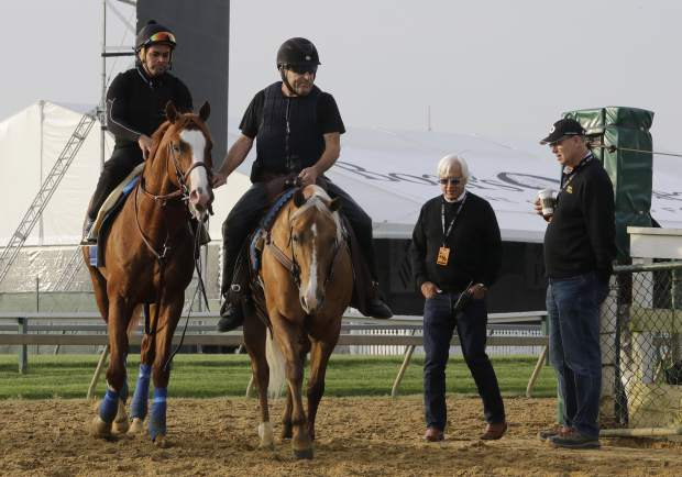 Improbable, left, is led back to the barn as trainer Bob Baffert, second from right, and co-owner, Elliott Walden, walk along during training for Saturday's Preakness horse race at Pimlico race track in Baltimore on Friday.