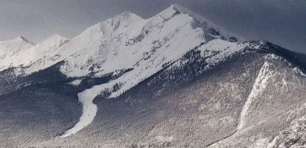 Peak 1 and the Tenmile Range under fresh coating of snow.