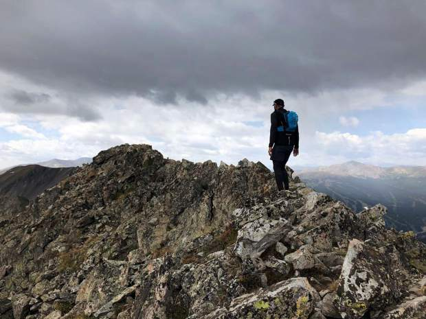 Michal Ovsjannikov works his way down the Tenmile Traverse. The experienced ridge runner and endurance athlete fell about 60 feet down the mountainside after summiting Peak 2 along the Tenmile Traverse last summer.