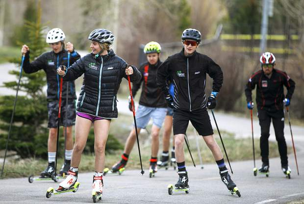 Summit Nordic Ski Club athletes train on roller skis in May 2019 in Breckenridge.