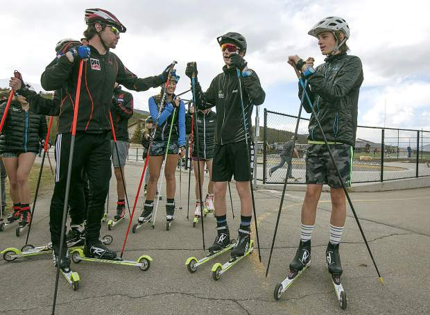 Summit Nordic team on roller skis Tuesday, May 7, in Breckenridge.