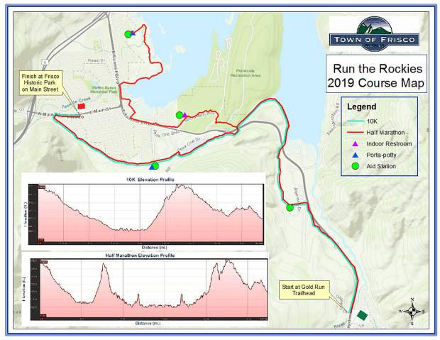 This map outlines the half-marathon and 10K routes for the June 1 Run The Rockies Half-Marathon and 10K.