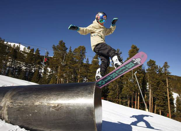 Jake Canter, 15, hucks his 5-foot-4, 115-pound frame off of a tube rail at Breckenridge Ski Resort on Friday, Feb. 1. The Silverthorne-resident rider Canter competed at the Winter X Games in Aspen earlier this winter and has been nominated to the 2019-20 U.S. Snowbord slopestyle/big air rookie team.