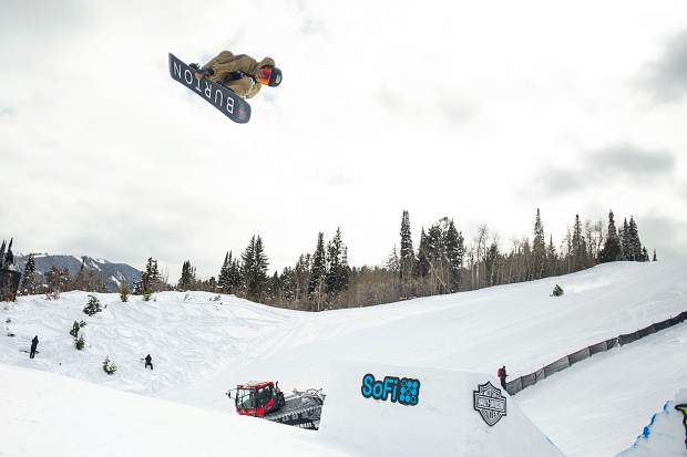 Red Gerard hits the quarterpipe on the slopestyle course during practice before the men's snowboarding final at X Games in Aspen earlier this winter.