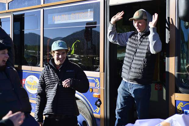 Evan Gray, a first-year ski instructor who's originally from Seattle, celebrates as he steps off a Breckenridge Trolley during a ceremony in December 2017 marking the Breckenridge Free Ride system reaching 1 million rides that year. In the first quarter of this year, the system easily passed half-a-million rides, and the increased ridership has the town working on a new transit plan.