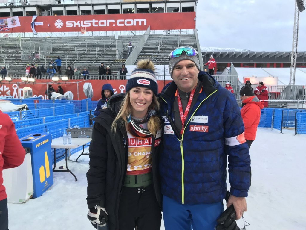 Dr. Bill Sterett with U.S. Ski Team racer Mikaela Shiffrin. Dr. Sterett is the Head Team Physician for the U.S. Women's Alpine Ski Team and often travels around the world for major racing events such as the Olympics and the World Championships.