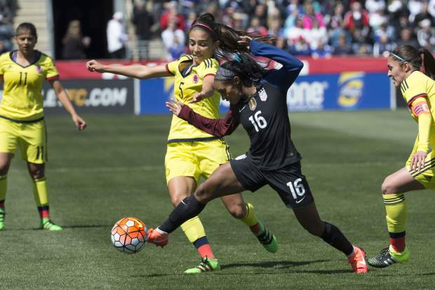 Colombia's Isabella Echeverri (5) battles for the ball against United States' Crystal Dunn (16) during the first half of an international friendly soccer match in Chester, Pennsylvania in April 2016. Players in Latin America face obvious economic and cultural challenges when it comes to soccer and sports overall. Emboldened by the actions of players in the United States, Australia and other countries, Echeverri and Melissa Ortiz started a high-profile social media campaign this year to bring to light to some of the issues faced by teammates on the Colombian women's national team.