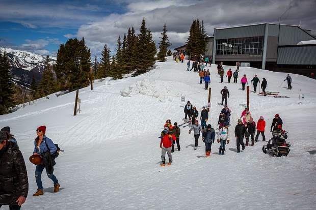 Hundreds made the walk Monday morning from the Aspen Mountain gondola to Sam Coffey's memorial on Richmond Ridge.
