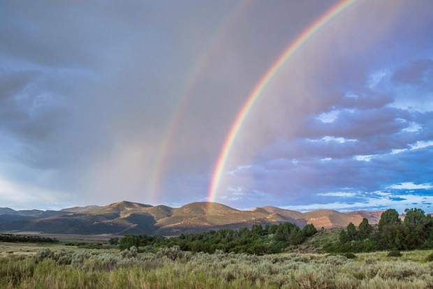 A double rainbow at Browns Park National Wildlife Refuge.