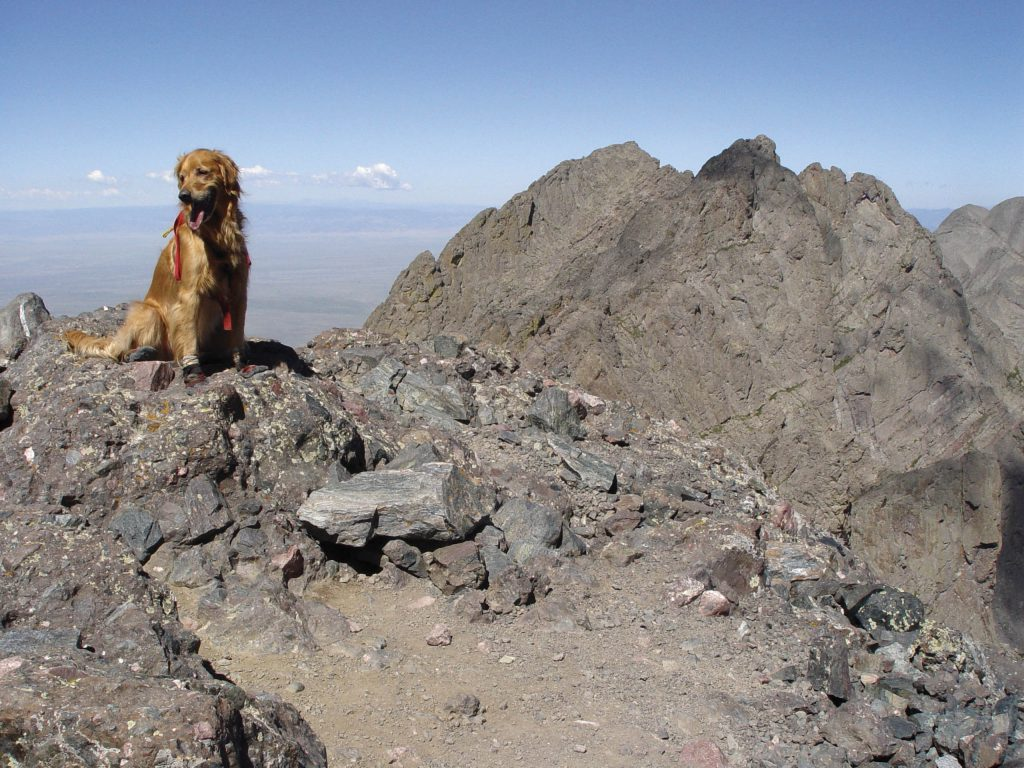 Sawyer sits on the summit of Crestone Needle with Crestone Peak behind him.