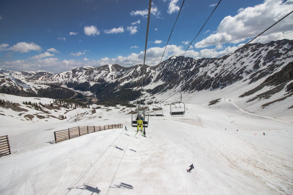 The view of the Continental Divide from a chairlift at Arapahoe Basin Ski Area last weekend.