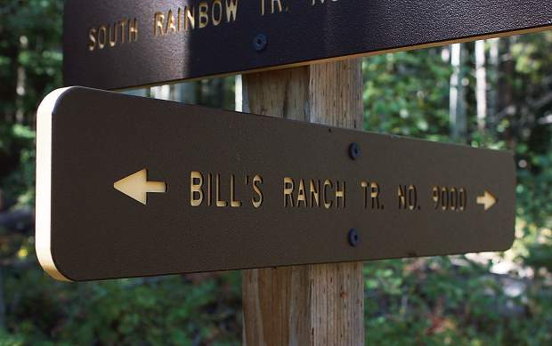 The U.S. Forest Service trail sign denoting the Bill's Ranch Trail south of Frisco.
