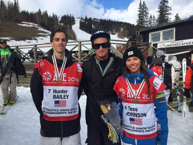 Frisco native Riley Campbell poses for a photo at the 2019 FIS Freestyle Junior World Ski Championships in Are, Sweden with top American mogul skiers Hunter Bailey (left) and Tess Johnson.