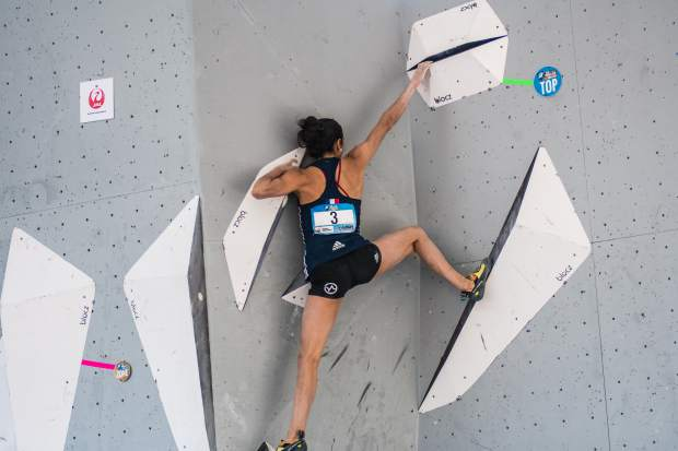 The Czech Republic's Adam Ondra works his way through a problem during the IFSC World Cup Bouldering event at Vail's GoPro Mountain Games on Saturday.