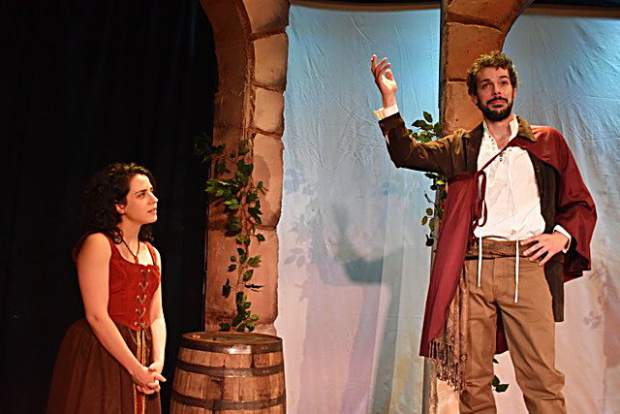 Paige Brantley as Katherina and Joey Folsom as Petruchio in