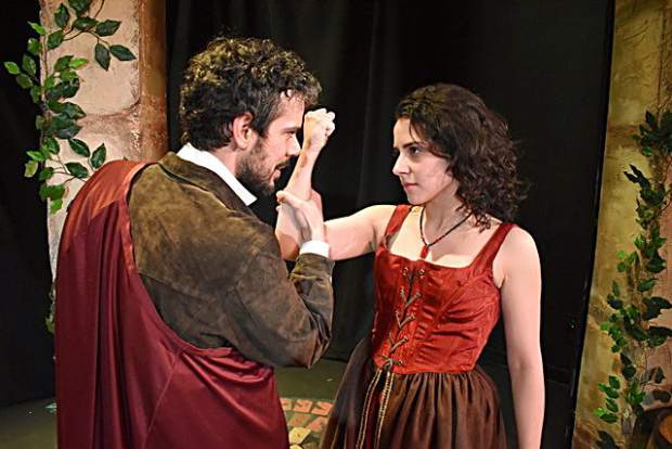 Joey Folsom as Petruchio and Paige Brantley as Katherina in
