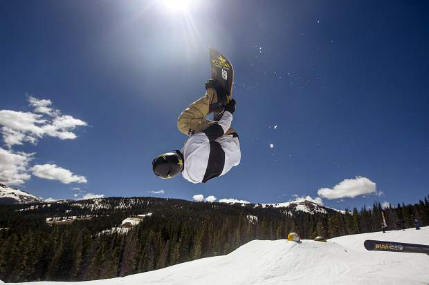 Local Vail-Summit pro snowboarder and two-time reigning FIS World Cup snowboard season champion Chris Corning executes an inverted trick while riding a line through Woodward Copper's Pipeline Park on Wednesday, June 12 at Copper Mountain Resort.